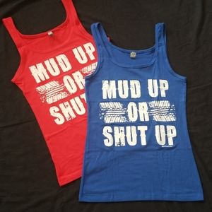 Pack of 2 Tank Tops Mud Up Or Shut Up Tee